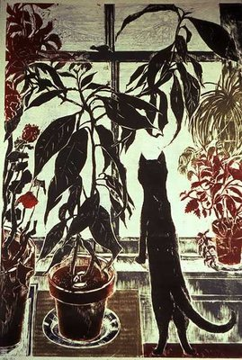 Cat at Window, 1981 Wall Art & Canvas Prints by Sally Elliott