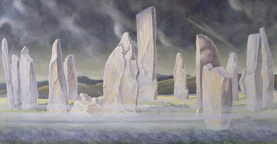 The Callanish Legend, Isle of Lewis, 1991 (w/c and pastel) Fine Art Print by Evangeline Dickson