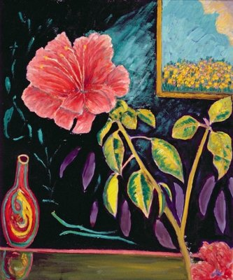 Hibiscus with Vase Wall Art & Canvas Prints by Patricia Eyre