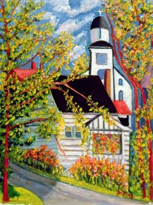 House with Church, Badeck Wall Art & Canvas Prints by Patricia Eyre