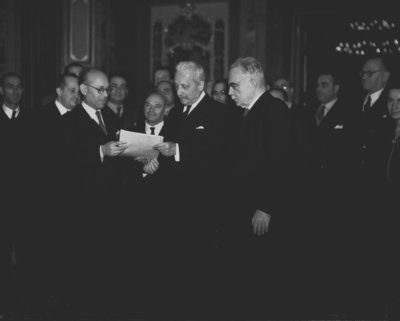 The Chairman of the Constituent Assembly Umberto Terracini delivers the text of the new constitution to the Head of State Enrico De Nicola, Palazzo Giustiniani, Rome, 23rd December 1947 Fine Art Print by Anonymous
