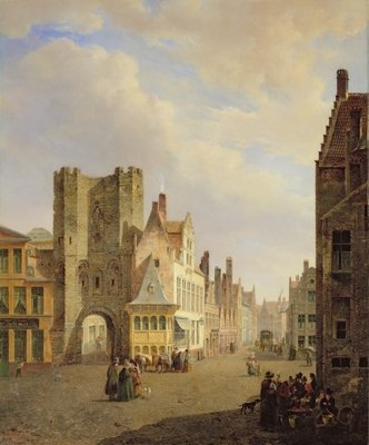 Street Scene, 1833 Wall Art & Canvas Prints by Pieter Frans de Noter