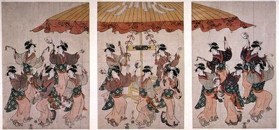 The Sumiyoshi Dance, triptych, c.1791 (coloured woodblock print) Postcards, Greetings Cards, Art Prints, Canvas, Framed Pictures, T-shirts & Wall Art by Hosoda Eishi