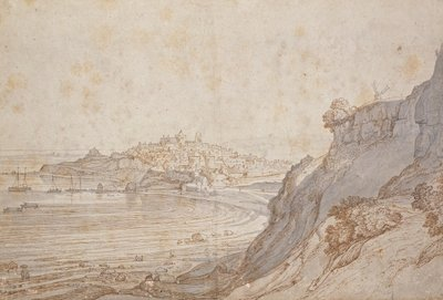 A View of Rye from Point Hill (brown ink and grey wash) Fine Art Print by Jacob Esselens