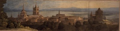 No.1483 View of Lausanne, 1781 (w/c, pencil & ink on paper) Wall Art & Canvas Prints by Francis Towne