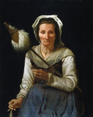 Old Woman Spinning, 1646-48 Fine Art Print by Michael Sweerts
