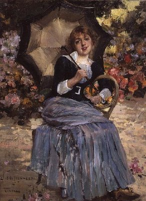 Girl with a sunshade, 1879 (oil on canvas) Postcards, Greetings Cards, Art Prints, Canvas, Framed Pictures, T-shirts & Wall Art by Jules Bastien-Lepage