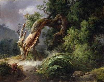 The Oak and the Reed, 1816 (oil on canvas) Wall Art & Canvas Prints by Achille Etna Michallon