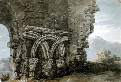 No.3204 Saxon capitals in the walls of the church of the Hospice of St. James, Dunwich, Suffolk, 1786 (w/c) Wall Art & Canvas Prints by Thomas Hearne