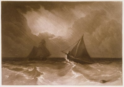 R.808b Ship and Cutter, from the 'Little Liber', engraved by the artist, c.1826 Fine Art Print by Joseph Mallord William Turner