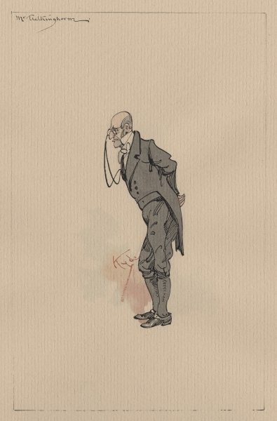Mr Tulkinghorn, c.1920s (pen & ink with w/c on paper) Fine Art Print by Joseph Clayton Clarke