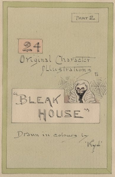 Title Page, Illustrations for 'Bleak House', Part 2, c.1920s (pen & ink with w/c on paper) Fine Art Print by Joseph Clayton Clarke