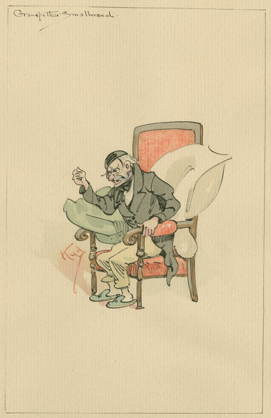 Grandfather Smallweed, c.1920s (pen & ink with w/c on paper) Fine Art Print by Joseph Clayton Clarke
