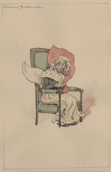 Grandma Smallweed, c.1920s (pen & ink with w/c on paper) Fine Art Print by Joseph Clayton Clarke