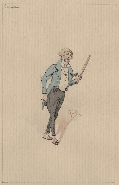 Prince Turveydrop, c.1920s (pen & ink with w/c on paper) Fine Art Print by Joseph Clayton Clarke