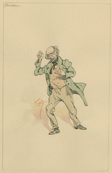 Mr Gridley, c.1920s (pen & ink with w/c on paper) Fine Art Print by Joseph Clayton Clarke