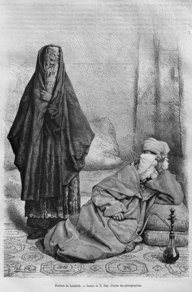 Women of Latakia, from 'La Syrie d'aujourd'hui. Voyages dans la Phenicie, le Liban et la Judee. 1875-1880' of Louis Charles Emile Lortet, 1884 Fine Art Print by French School