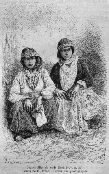Young girls, from 'La Syrie d'aujourd'hui. Voyages dans la Phenicie, le Liban et la Judee. 1875-1880' by Louis Charles Emile Lortet, 1884 Fine Art Print by French School