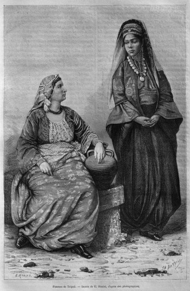 Women of Tripoli, from 'La Syrie d'aujourd'hui. Voyages dans la Phenicie, le Liban et la Judee. 1875-1880' of Louis Charles Emile Lortet, 1884 Fine Art Print by French School