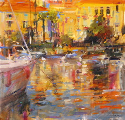 Riviera Moorings Fine Art Print by Peter Graham