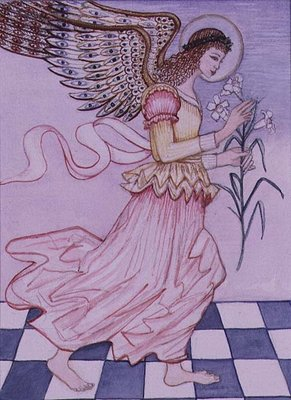 Angel with tiger lily, 1995 Fine Art Print by Gillian Lawson