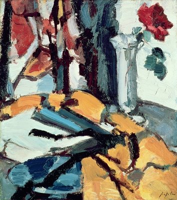Red Rose Fine Art Print by Samuel John Peploe