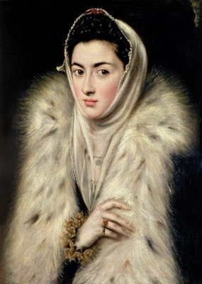 Lady in a Fur Wrap Fine Art Print by Domenico El Greco