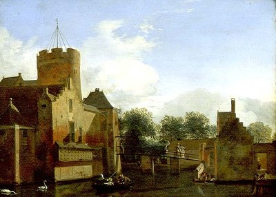 View of Schloss Leonersloot, Holland Fine Art Print by Jan van der Heyden