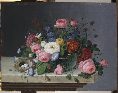 Still Life with Flowers and Bird's Nest, after 1860 Fine Art Print by Severin Roesen