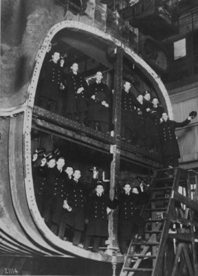 Engineer cadets from Pennsylvania Nautical School Ship Annopolis, in section of 128,500 square foot Surface Condenser Shell, 1928 (b/w photo) Wall Art & Canvas Prints by American Photographer