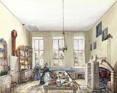 The Kitchen at Aynhoe, 3rd February 1847 Postcards, Greetings Cards, Art Prints, Canvas, Framed Pictures & Wall Art by Lili Cartwright