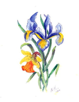 Blue Iris and Daffodil, 2002 Fine Art Print by Nell Hill