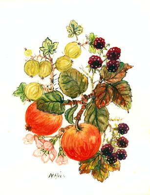 Brambles, Apples and Grapes Fine Art Print by Nell Hill