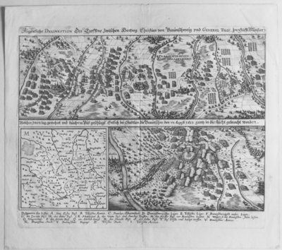 Map of the Battle of Stadtlohn between the Imperial troops led by General Tilly and the Protestant troops under Christian of Brunswick, 4-6 August 1623, from 'Theatrum Europaeum', Volume I, printed by Wolfgang Hoffmann, 1635 Fine Art Print by Matthaus, the Elder Merian