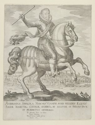 Ambrosio Spinola on Horseback before the Town of Oppenheim, after 1620 Fine Art Print by German School