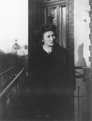 Rosa Luxemburg on a balcony, 1910 Fine Art Print by German Photographer