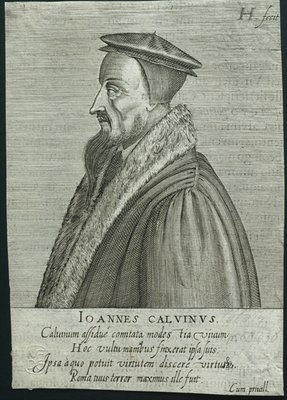 Profile portrait of John Calvin Fine Art Print by German School