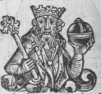 Portrait of Pepin the Short, from the Schedelsche Weltchronik, engraved by Wilhelm Pleydenwurff, printed by Anton Koberger, published by Sebald Schreyer and Sebastian Kammermeister, Nuremberg, 1493 Fine Art Print by Michael Wolgemut or Wolgemuth