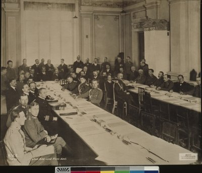 The peace negotiations at Brest-Litovsk, with Richard von Kuehlmann in the centre, after 15th December 1917 Fine Art Print by German School