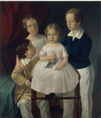 Portrait of the four children of cabinetmaker Franz Zlamal, Vienna 1840 Wall Art & Canvas Prints by Erasmus Engert