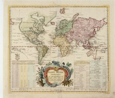 Map of the World, published by Preussische Akademie der Wissenschaften, Berlin 1753 Postcards, Greetings Cards, Art Prints, Canvas, Framed Pictures & Wall Art by Leonhard Euler