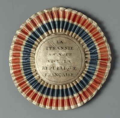 Cockade in the colours of the French republic, after 1789 Fine Art Print by French School