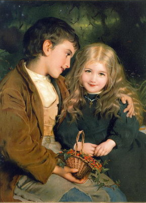 Little Sweethearts, from a Pears Annual, c.1880 Fine Art Print by English School