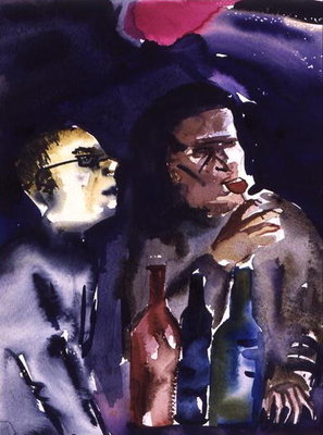 Jazz Cafe, 1998 (w/c on paper) Fine Art Print by Hilary Rosen