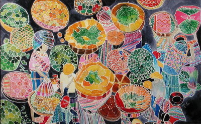 Baskets at Market Fine Art Print by Hilary Simon