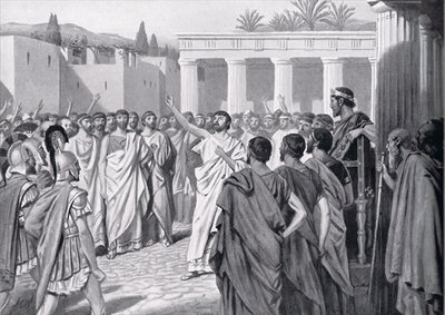 Congress of the Peloponnesian States in Sparta in 432 BC, illustration from 'Hutchinson's History of the Nations', 1915 Fine Art Print by A.C. Weatherstone