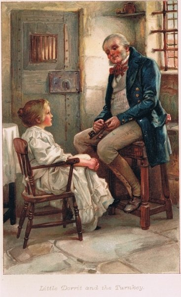 Little Dorrit and the Turnkey, illustration from 'Child Characters from Dickens', by Ernest Nister, 1905 Fine Art Print by Arthur A. Dixon