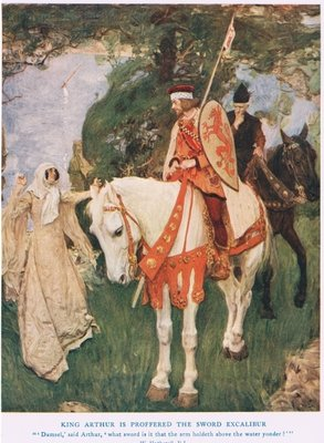 King Arthur is proffered sword Excalibur, illustration from 'King Arthur' Fine Art Print by William Hatherell