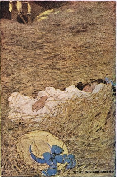 A girl in a hayloft, from 'A Child's Garden of Verses' by Robert Louis Stevenson, published 1885 Poster Art Print by Jessie Willcox Smith