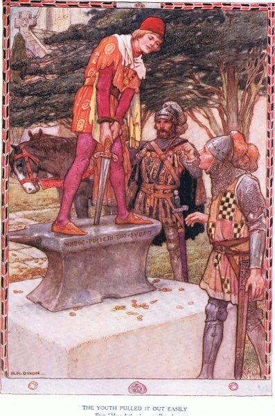 Arthur pulls Excalibur from the stone, from 'King Arthur and the Knights of the Round Table', by Doris Ashley, published 1921 Fine Art Print by Arthur A. Dixon